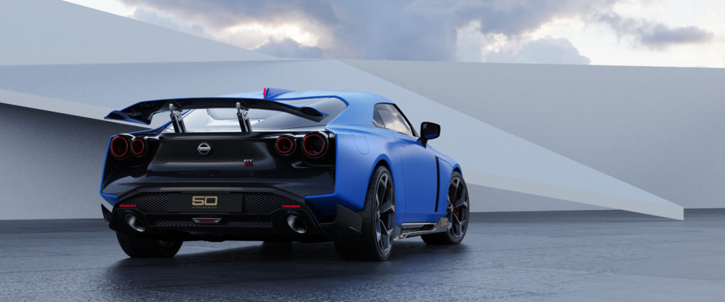 Nissan GT-R50 by Italdesign production rendering Blue RR-source